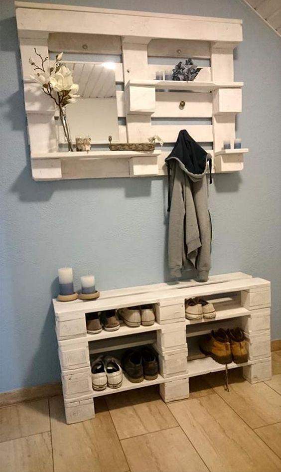 schoenenopberger gemaakt van houten pallets