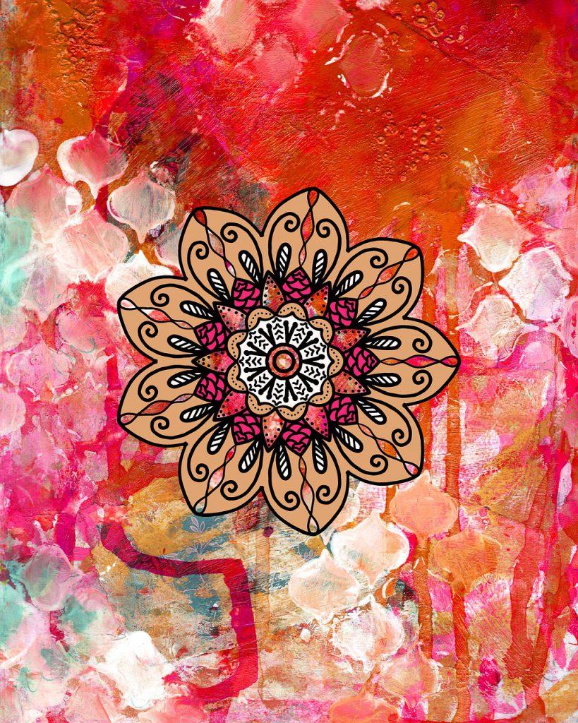 Een kleurrijk schilderij van een Mandala. Echt hippiestijl.